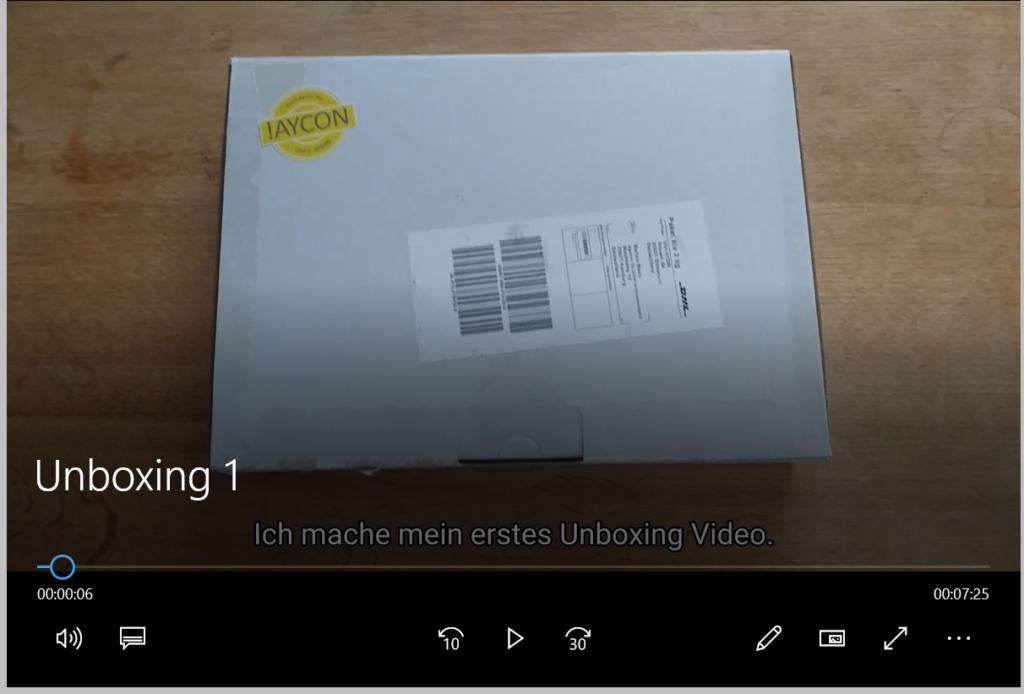 Startbild eines Unboxing Videos